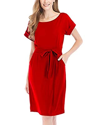 Yeokou Womens Casual Wear to Work Short Sleeve Boat Neck Bodycon Dress Belt Pockets (Red, Large)