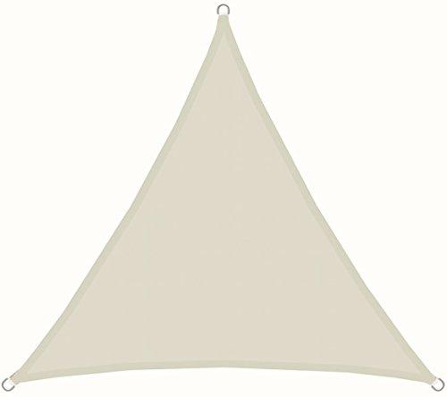 AMANKA UPF50+ UV Sonnensegel 3x3x3 Polyester Dreieck Wasserabweisend Wetterfest Garten Balkon Beige