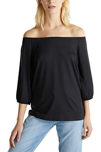 ESPRIT Damen 020EE1K419 T-Shirt, 001/BLACK, S