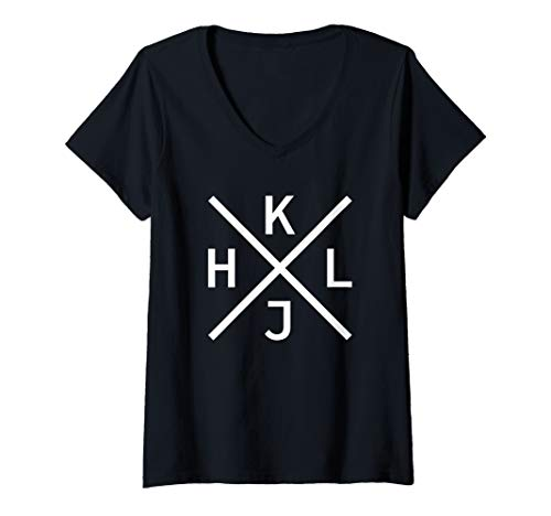 Damen HJKL - Weißes Design für Hardcore vi/Vim Geeks & Nerds T-Shirt mit V-Ausschnitt