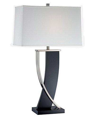 Lite Source LS-21788 Table Lamp with Off White Fabric Shades, 18' x 18' x 31', Dark Walnut/Polished Steel/Off-White