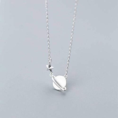 Good dress S925 Silber Halskette im Japanischen Stil Mode Süße Planet Set Kette Persönlichkeit Temperament Saturn Schlüsselbein Kette Weiblich, S925 Silberkette, Wie Gezeigt