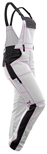 strongAnt - Damen Arbeitshose Arbeits-Latzhose Weiß Pink für Frauen Malerhose komplett Stretch mit Kniepolstertaschen Baumwolle -...