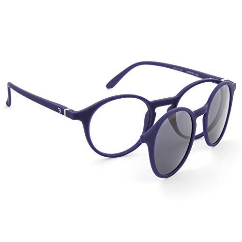 DIDINSKY Gafas de Presbicia con Filtro Anti Luz Azul con Capa de Sol. Gafas Clip on Imantadas para Hombre y Mujer. Indigo 0.0-1.5 - 2.5 – UFFIZI CLIP ON