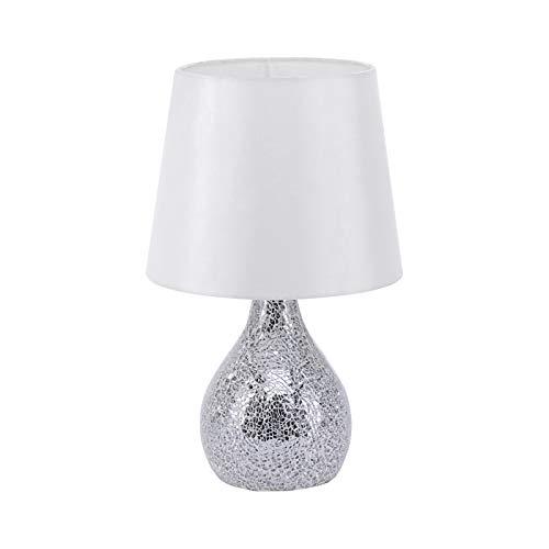 ROLLER Tischlampe - weiß-Silber - Stoffschirm