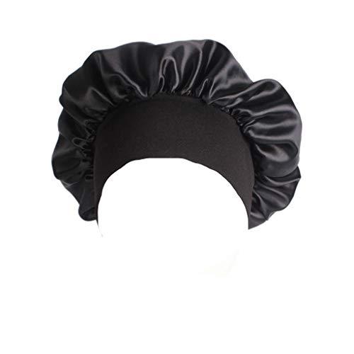 Lunji Bonnet de nuit satiné pour femme et homme - Noir - Taille Unique