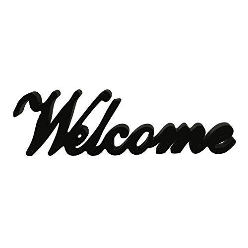 CVHOMEDECO. Noir Mat en Bois Words Pancarte sur Pied Welcome Desk/Table/étagère Murale/Home/Office Décoration Art, 36,8 x 10,4 x 2,5 cm