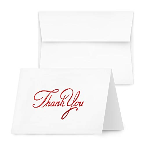 2020 Elegant Embossed Thank You Cards, Nice Red Embossed, Half Fold White Blank Greetings, Gift & Presents | Holiday, Baby & Bridal Shower, Wedding, Graduation, | Set of 25 Cards & Matching Envelopes