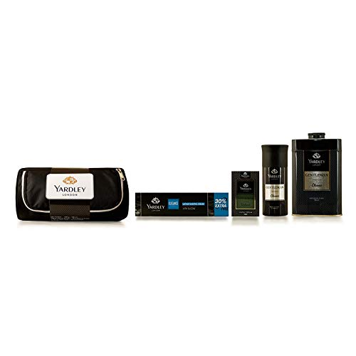 Yardley London Gentleman Range Gift Kit with Free Pouch, 320g + 168ml (Pack includes Compact Perfume, Deo, Shaving Cream, Talc)