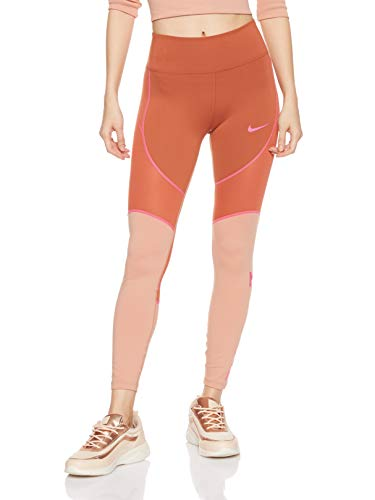 Nike W NK all-in 7_8 TGHT SD, Pantaloni Donna, Dusty Peach/Rose Gold/(Laser Fuchsia), M