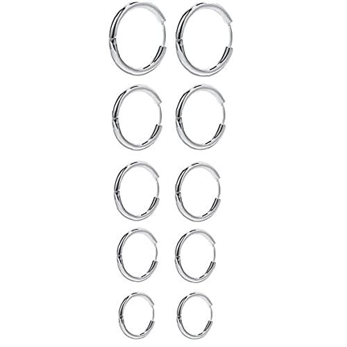 Pendientes de aro aretes redondos círculo de acero inoxidable de plata para mujer niña hombres 5 pares