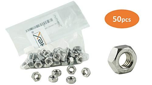 ruthex Sechskantmuttern M4 (50 Stück) | Edelstahl Muttern V2A | DIN 934 / ISO 4032 Normteile | Schlüsselweite 7mm | Chrom(VI) - frei