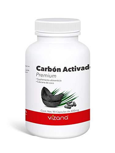 Carbón Activado Premium en Cápsulas Veganas 90 Caps-400 Mgs Vizana Nutrition