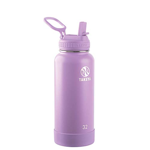 Takeya Actives Insulated Stainless Steel Bottle w/Straw Lid, 32 oz, Lilac