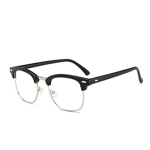 Marco de anteojos medio espejo plano marco retro anteojos de uñas de arroz marco anti-luz azul gafas UV