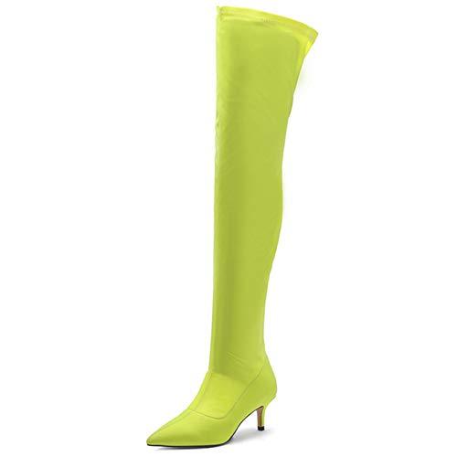 LPZzzA Moda Sexy Estiramiento Punta Punta Muslo Botas Altas para Mujeres, Tacón Gatito Pantorrilla ancha sobre la rodilla Botas para Mujeres-Verde || 43
