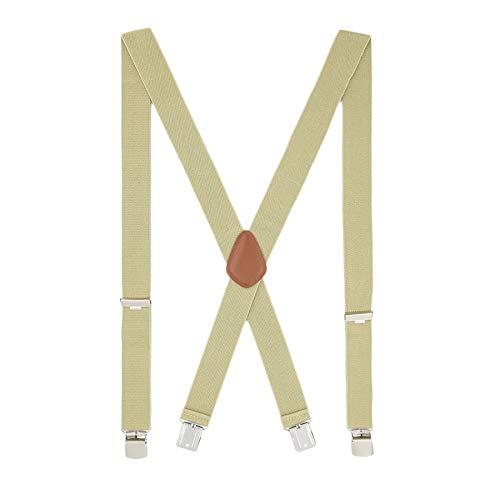 MLM Tirantes para hombres Tirantes para hombres Heavy Duty 4 Clips Wide 1.4  X Shape Back Elastic Durable Suspenders Thicken Wide Clips para metales (Caqui)