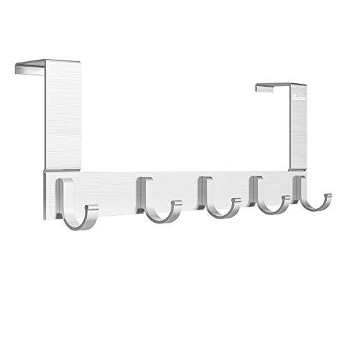 Anjuer Perchero para Puerta Colgadores de Puerta Aluminio Percha de Baño Gancho de Baño para los dormitorios baños armarios gabinete - 5 Ganchos