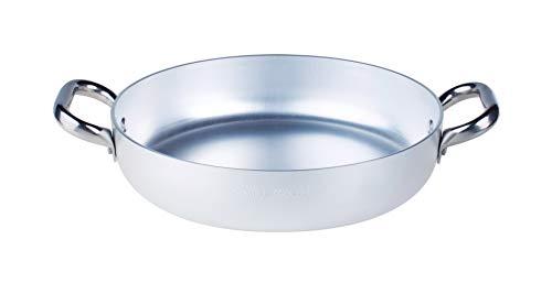 Pentole Agnelli ALMA11032 Alluminio Professionale 3 mm, Tegame con Due Maniglie, 32 cm