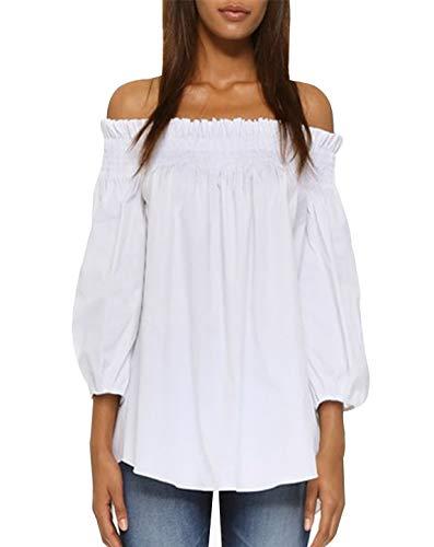 ZANZEA Damen Schulterfrei 3/4 Arm Freizeit Party Strand Lose Tops Shirt Bluse Weiß X-Large