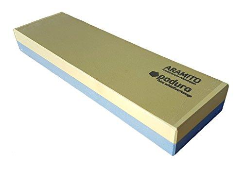 PODURO Abziehstein ARAMITO XL Kombi Wasserstein 3000/800 (JIS) 1000/380 (FEPA) 200 x 60 x 25 mm & Baumwollbeutel