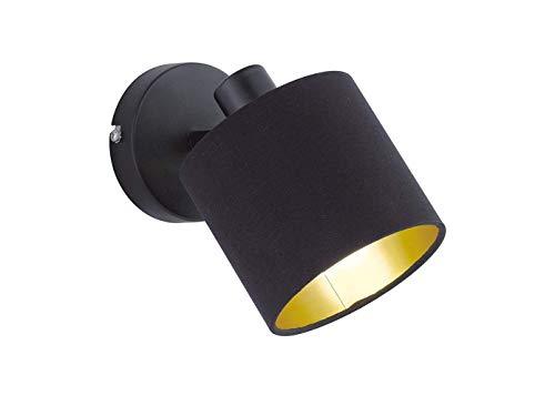 Reality Leuchten Schwenkbarer 1 flammiger LED Wandstrahler dimmbar mit Stoff Lampenschirm in der Farbe Schwarz innen Gold