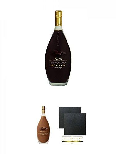 Bottega Nero Dunkle Schokolade Grappa 15% 0,5 Liter + Bottega Gianduia Nougat Crèmelikör Grappa 17% 0,5 Liter + Schiefer Glasuntersetzer eckig ca. 9,5 cm Ø 2 Stück