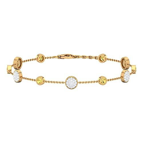 Conjunto de bisel pulsera de piedras preciosas HI-SI, pulsera de diamantes para mujer, pulsera de cadena dorada para mujer, Metal precioso. Gema Piedra, Ónix negro,
