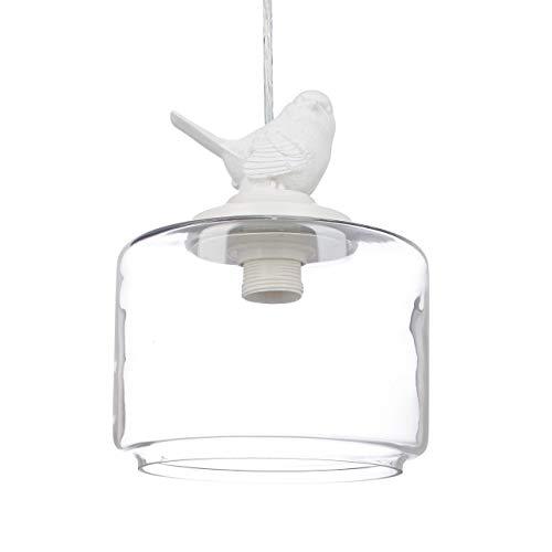 Relaxdays Lampe de plafond luminaire lampe à suspension abat-jour verre oiseau design retro déco vintage, transparent