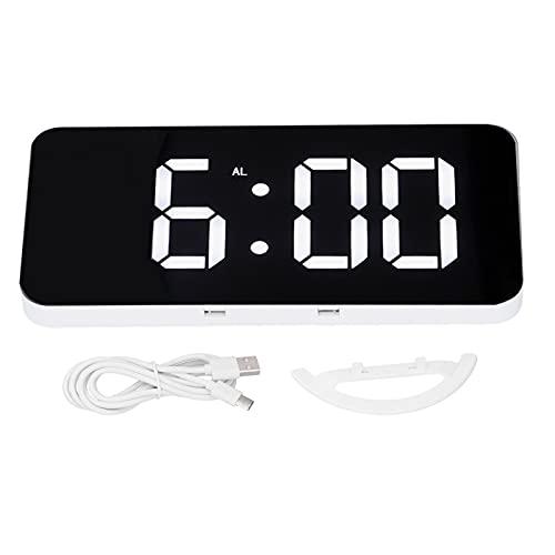 Reloj LED Multifuncional con Espejo, Pantalla Digital Inteligente con Reloj Despertador Electrónico Automático Fotosensible Alimentado por USB para El Hogar
