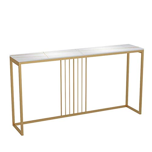 YaGFeng Console Table Nordic Console Table Wrought Iron Super Narrow Console Table Rock Slab Marble Console Table Suitable for Bedroom Balcony (Color : White, Size : 100x30x80cm)
