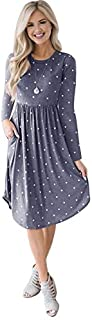 TOOGOO Women Fashion O Neck Long Sleeve Polka Dot Print Pockets Midi Dress Ladies Casual Holiday Party Dress Grey S