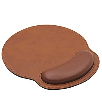 Ergonomic Mouse Pad with Wrist Support,PU Leather Mousepad for Laptop Computers Mac,Non Slip Rubber Base Memory Foam Wrist Rest Mouse Pads for Men Women,Home Work Office Gaming,Pain Relief ,Brown