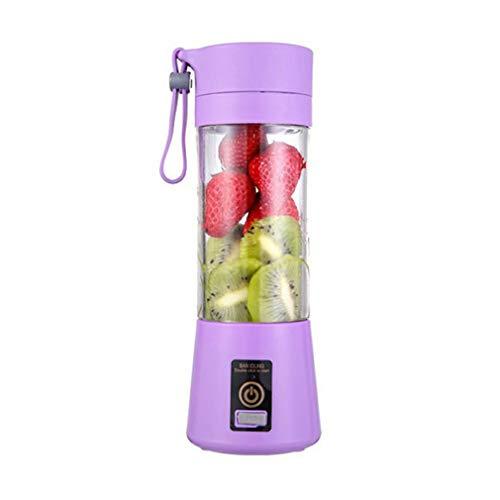 Licuadora personal, 380 ml portátil licuadora con seis cuchillas, máquina de batidos de frutas recargable por USB para el hogar al aire libre (púrpura)