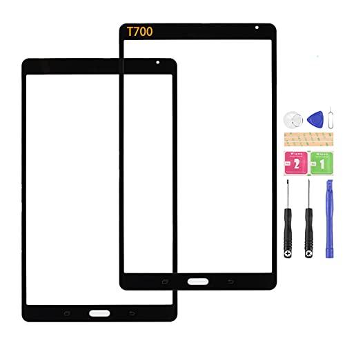 SRJTEK Compatible con Samsung Galaxy Tab S Pantalla de Lente Exterior Cristal T700 Panel de Reemplazo para SM-T700 Asamblea con Kits (no pantalla LCD, no pantalla táctil)