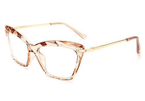 FEISEDY Crystal Cat Eye Reading Glasses Blue Light Blocking Reader Anti Eyestrain Glasses B2596 Champagne 2.50x