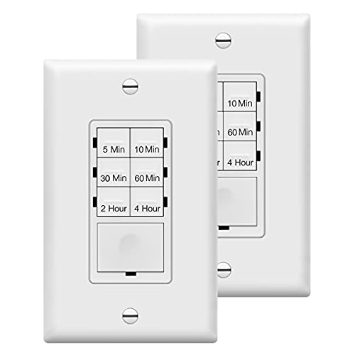 ENERLITES 4-Hour Countdown Timer Switch, 5-10-30-60 Min, 2-4 Hour, for Bathroom Fans, Heaters, Lights, LED Indicator, 120VAC 1200W, Neutral Wire Required, UL Listed, HET06-W-2PCS, White, 2 Pack