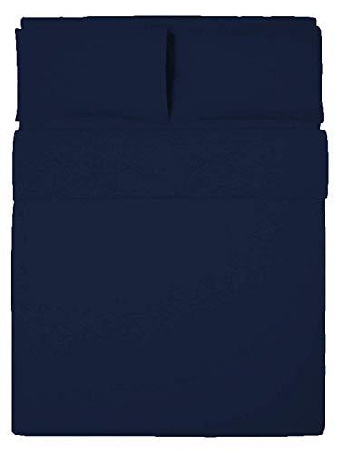 R&Z Plain Dyed Percale Polycotton Duvet Cover & 2 Pillow Cases Bed Set (Navy Blue, Double)
