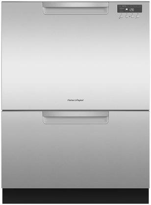 "Fisher Paykel DD24DCHTX9 24"" Double DishDrawer Dishwasher with 14 Place Settings SmartDrive TM Technology 2 Cutlery Baskets and Built-In Water Softener in Stainless"
