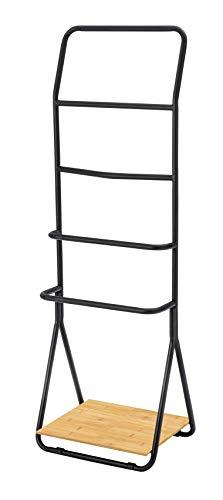 WENKO Toallero Verona negro - Toallero de pie, con 4 barras, Metal, 51 x 156.5 x 40 cm, Negro