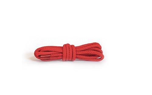 Kaps Runde Schnürsenkel, hochwertige strapazierfähige 100% Baumwolle Schnürsenkel, hergestellt in Europa, 1 Paar, viele Farben und Längen (90 cm - 5 bis 6 Ösenpaare / 31 - rot)