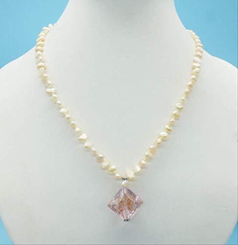 YMKCMC Collar Colgante De Perla Barroca Rosa Y Cristal Antig