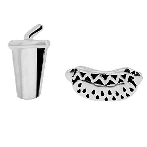Tuscany Silver Pendientes de Botón Asimétricos 'Refresco y Perro Caliente' para Mujer en Plata de...