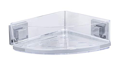 Wenko 22686100–Bandeja esquinera Quadro con Vacuum Loc–, Acero Inoxidable, Plata, 28x 19.5x 8.5cm, Gris Plateado/Transparente, 28 x 19.5 x 8.5 cm
