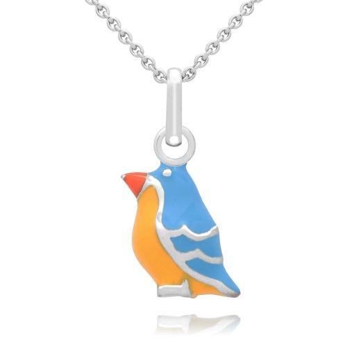 Chic Petits hanger vogel sterling zilver email blauw/geel/oranje/blauw