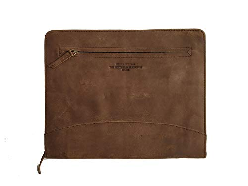 THE LEATHER WAREHOUSE Handmade Office Folder Multipurpose Cow Leather Padfolio/Resume Portfolio Folder - Interview/Legal Document Organizer & Business Card Holder (Coffee Brown)