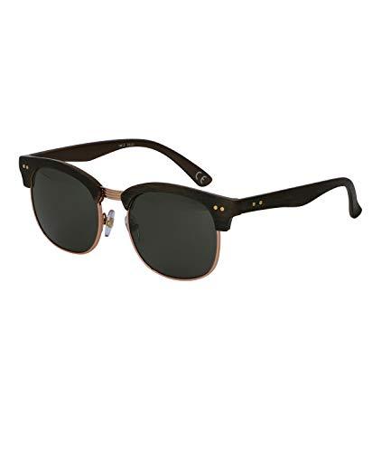 SIX Herren Sonnenbrille mit schwarzen Gläsern und zweigeteiltem Rahmen in Holz-Optik, UV400-Filter, verspiegelt (437-534)