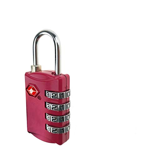 ARCE TSA Lock- 4 Digit Combination - Best TSA Approved Lock for Travel Safety and Security - Lock Alert, Heavy Duty Luggage Lock, TSA Suitcase Lock - Lock Safe Protection Red