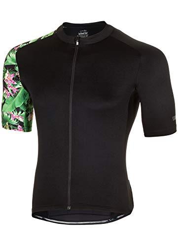 zero rh+ Flower Power, Ropa de Hombre Bike Jersey para Hombre, Negro, L