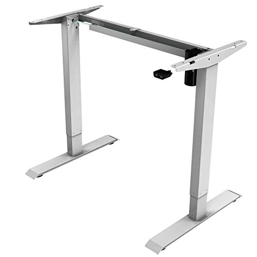 iMount E21S - Escritorio eléctrico de pie (altura ergonómica, ajustable y de pie de trabajo, solo marco), color plateado